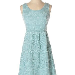 A-Line Light Blue Floral Lace Sleeveless Dress